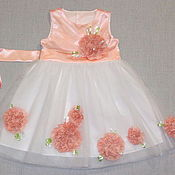 Работы для детей, ручной работы. Ярмарка Мастеров - ручная работа Платье для девочки Цветок Персика нарядное. Handmade.
