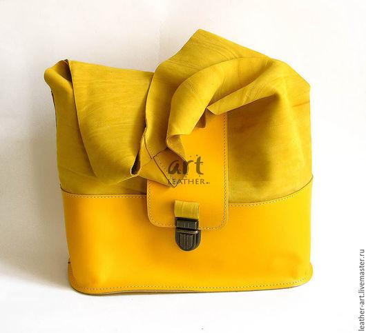 Женские сумки ручной работы. Ярмарка Мастеров - ручная работа. Купить Кожаная сумка-мешок Солнечная. Handmade. Оригинальная сумка