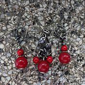 Комплекты украшений винтажные ручной работы. Ярмарка Мастеров - ручная работа Рубиновый жадеит и коралл в чернёном серебре. Handmade.