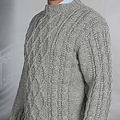 Одежда ручной работы. Ярмарка Мастеров - ручная работа Серый свитер мужской XL вязанный, 100% ручная работа. Handmade.