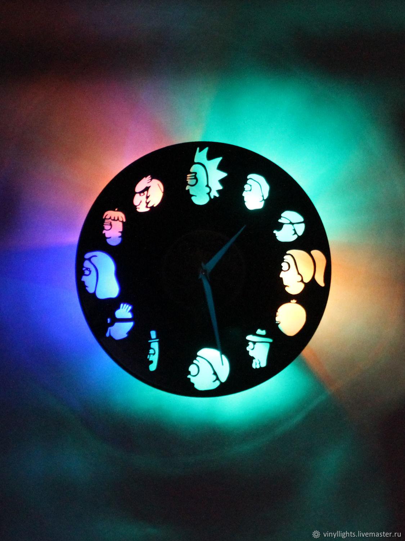 Настенные часы со светодиодной подсветкой из пластинки Рик и Морти, Часы с подсветкой, Санкт-Петербург,  Фото №1