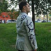 """Одежда ручной работы. Ярмарка Мастеров - ручная работа Мужской льняной пиджак """"Синий иней"""". Handmade."""