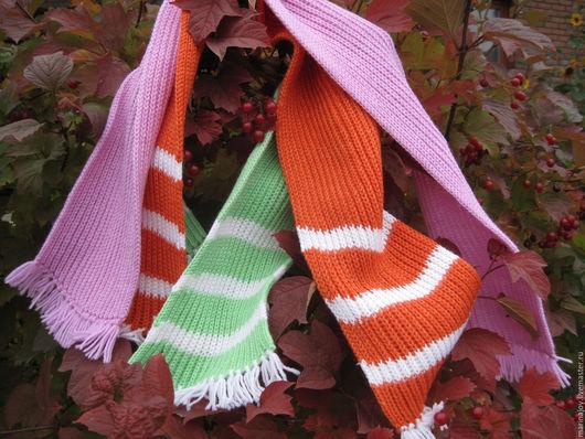 Шапки и шарфы ручной работы. Ярмарка Мастеров - ручная работа. Купить Детские вязанные шарфики. Handmade. Розовый, зимний шарф