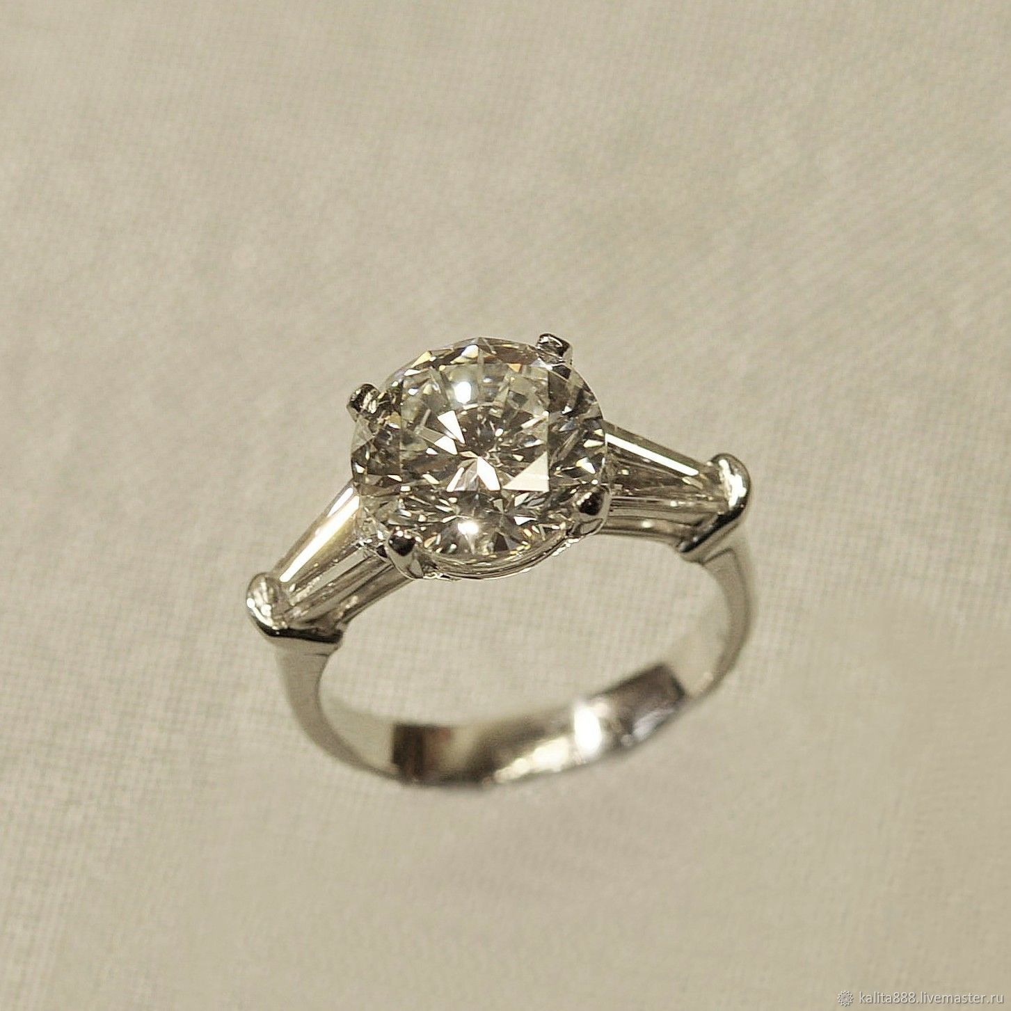 Platinum ring with 4 ct diamond, Rings, Moscow,  Фото №1