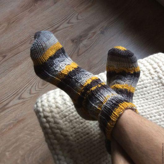 """Носки, Чулки ручной работы. Ярмарка Мастеров - ручная работа. Купить Мужские носки """"Полосатое настроение"""". Handmade. носки теплые"""