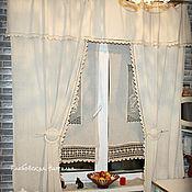 Для дома и интерьера handmade. Livemaster - original item Linen curtains for the kitchen,