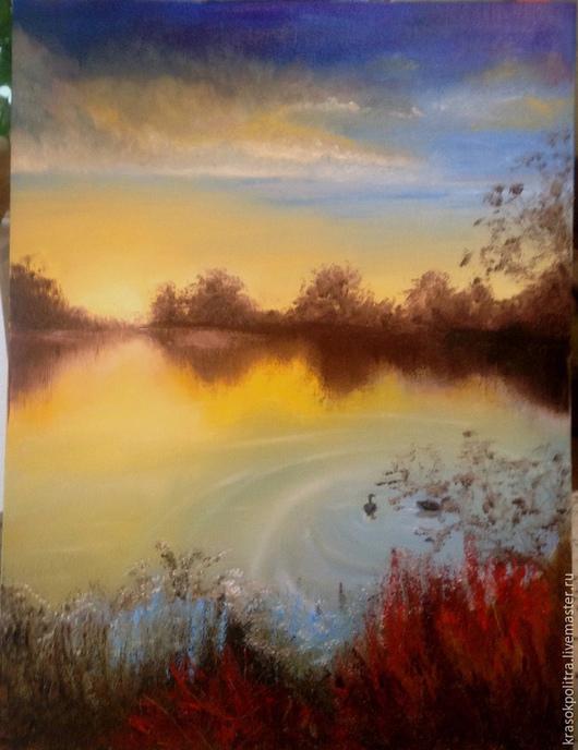 Пейзаж ручной работы. Ярмарка Мастеров - ручная работа. Купить рассвет на озере. Handmade. Желтый, солнце, рассвет, озеро, лебеди
