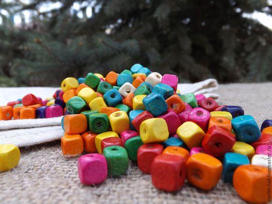 """Для украшений ручной работы. Ярмарка Мастеров - ручная работа. Купить Бусины деревянные """"Куб"""" цветные 8 мм. Handmade."""
