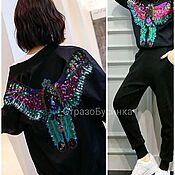 Материалы для творчества handmade. Livemaster - original item Phoenix bird applique embroidered with sequins. Handmade.
