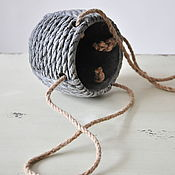 Цветы и флористика handmade. Livemaster - original item Concrete pot Set with rope handles in the style of Provence. Handmade.