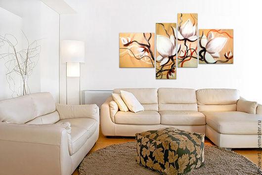 """Картины цветов ручной работы. Ярмарка Мастеров - ручная работа. Купить Модульная картина """"Три белых цветка"""". Handmade. Бежевый"""