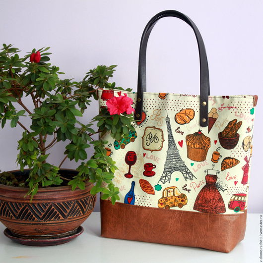 Сумка тоте, tote bag, сумка шоппер, сумка для покупок. Сумка Весна в Париже. Купить сумку.  Мастер Сечкина Юлия http://www.livemaster.ru/v-dome-radosti