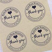 """Материалы для творчества ручной работы. Ярмарка Мастеров - ручная работа Крафт наклейки """"Thank you"""" для упаковки.. Handmade."""