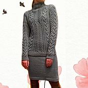 Одежда handmade. Livemaster - original item Suit sweater and skirt of Lazur, knitting, braids, Aran patterns, wool. Handmade.