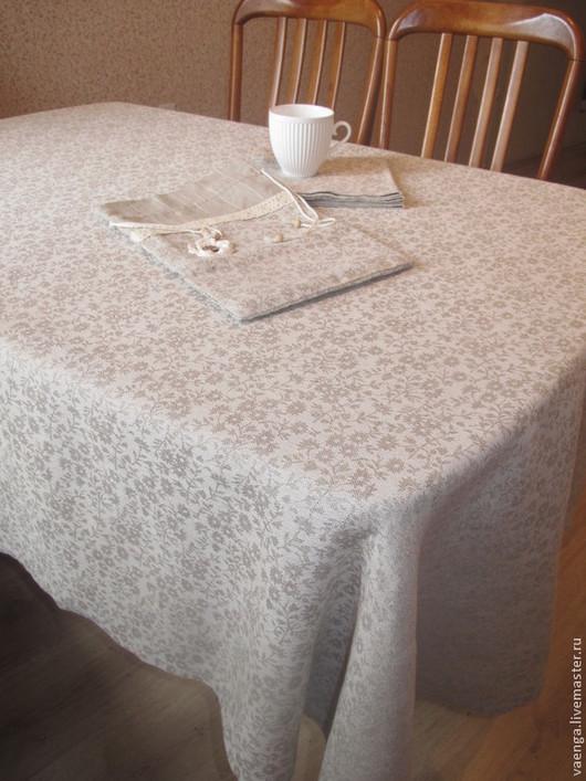 """Текстиль, ковры ручной работы. Ярмарка Мастеров - ручная работа. Купить Скатерть """"Серые цветы"""". Handmade. Для дома и интерьера"""