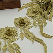 Материалы для творчества handmade. Livemaster - original item Luxurious lace trim, Golden roses. Handmade.