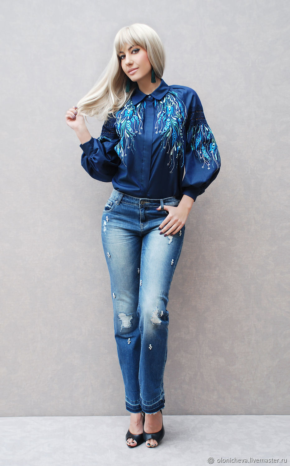 Blouse with hand embroidery 'Moon herbs-2' New collection, Blouses, Vinnitsa,  Фото №1