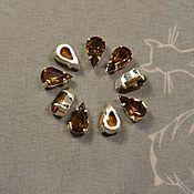 Материалы для творчества handmade. Livemaster - original item 1pc Rhinestones drops 10h6 Czech Smoke topaz in DACs. Handmade.