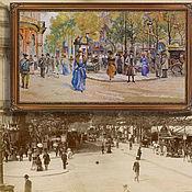 Картины и панно handmade. Livemaster - original item Pictures: Cross-stitch the Boulevard des Capucines. Handmade.