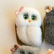 Украшения handmade. Livemaster - original item Owl white felt ( brooch ). Handmade.