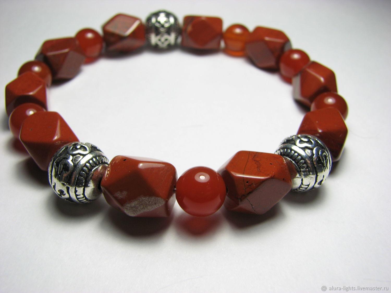 Bracelet with red Jasper and carnelian 'Fire', Bead bracelet, Moscow,  Фото №1
