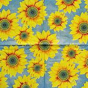 Материалы для творчества handmade. Livemaster - original item Napkins for decoupage Yellow sunflowers on a blue background. Handmade.