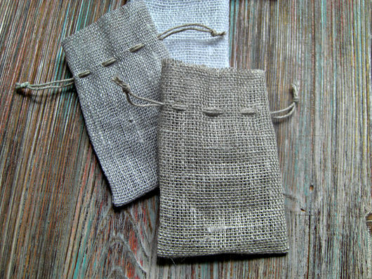 Упаковка ручной работы. Ярмарка Мастеров - ручная работа. Купить Мини мешочки, лен. Handmade. Серый, мешочки, эко, упаковка