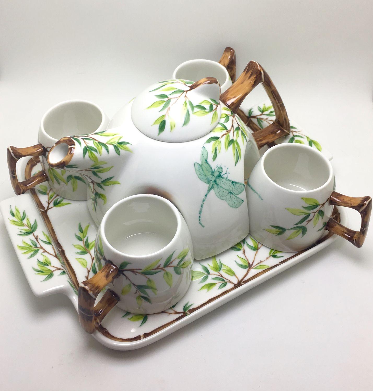 Painted porcelain. Tea set ' Autumn and dragonfly', Tea & Coffee Sets, Kaluga,  Фото №1
