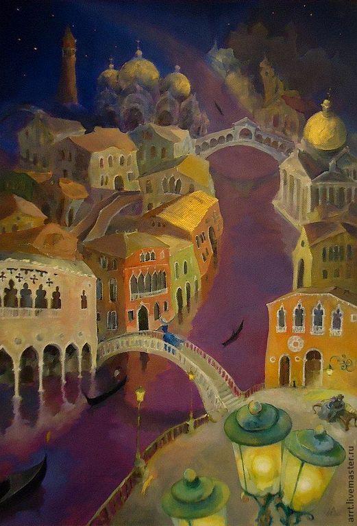 Город ручной работы. Ярмарка Мастеров - ручная работа. Купить Картина Венеция ночь и карнавал Холст масло. Handmade. Фиолетовый