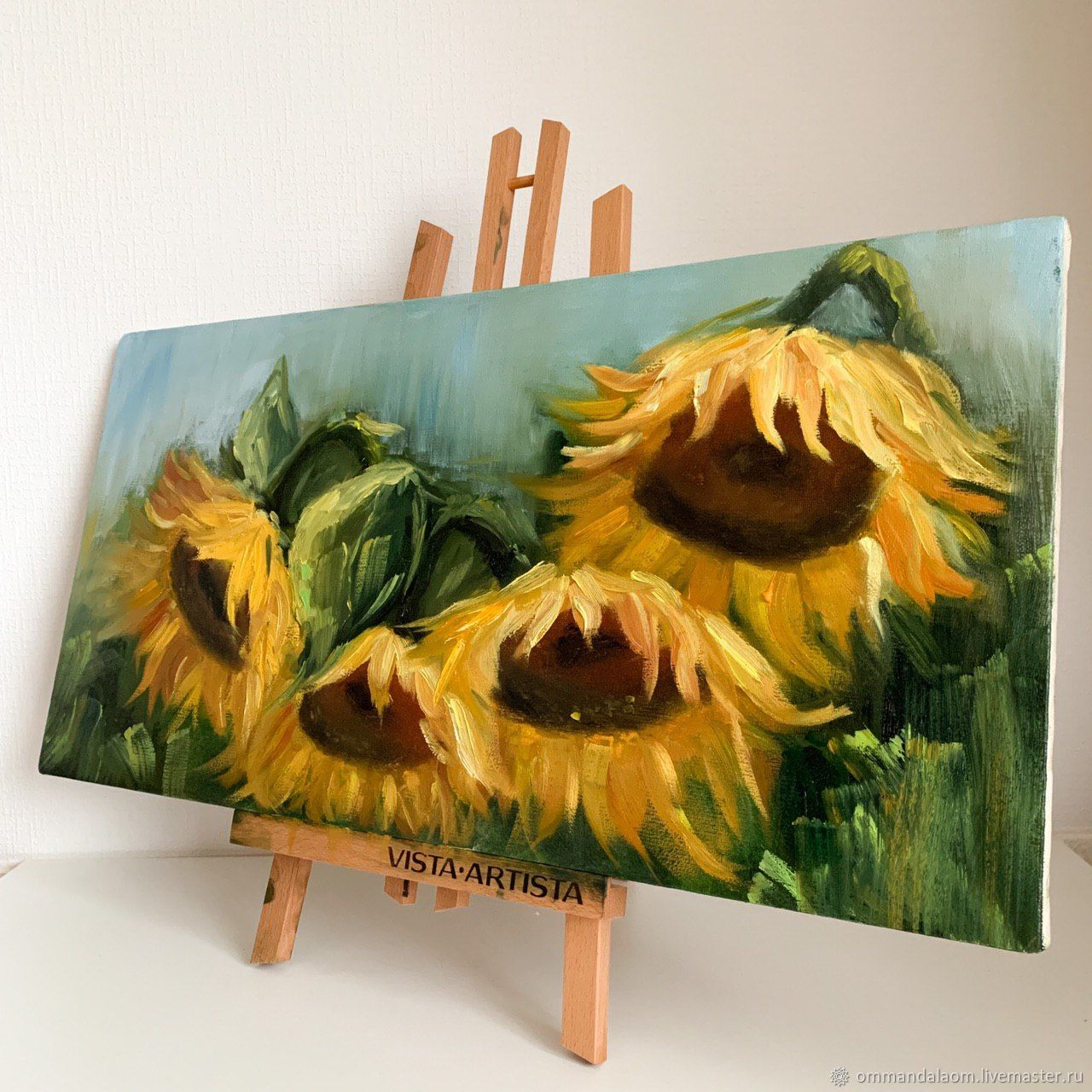 Painting 'Sunflowers' 30h60cm Hand-painted, oil on canvas, Pictures, Moscow,  Фото №1