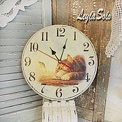 Для дома и интерьера ручной работы. Ярмарка Мастеров - ручная работа Часы настенные из дерева Кот котик. Handmade.