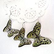 Украшения handmade. Livemaster - original item Transparent Earrings Butterflies Leopard No. №2. Handmade.