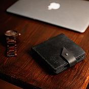 Кошельки ручной работы. Ярмарка Мастеров - ручная работа Кожаный бумажник с отделением для мелочи ROCKY RIDGE черного цвета. Handmade.