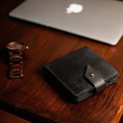 Кошельки ручной работы. Ярмарка Мастеров - ручная работа Кожаный бумажник с отделением для монет ROCKY RIDGE цвет Черный Карбон. Handmade.