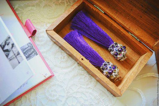 Серьги ручной работы. Ярмарка Мастеров - ручная работа. Купить Серьги-кисти фиолетовые. Handmade. Фиолетовый, серьги кисти