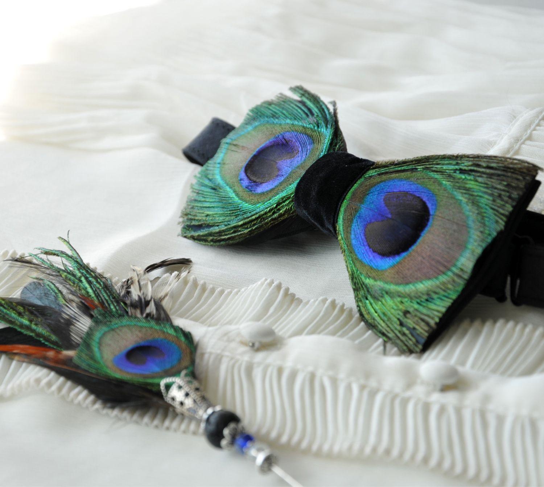 Комплект: Галстук-бабочка и бутоньерка с перьями павлина и петуха, Галстуки, Сочи,  Фото №1