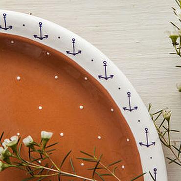 """Посуда ручной работы. Ярмарка Мастеров - ручная работа """"На море!"""" Блюдо сервировочное, керамика. Handmade."""