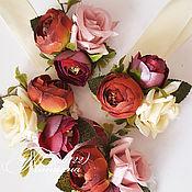 Свадебный салон ручной работы. Ярмарка Мастеров - ручная работа Браслет подружки невесты марсала. Handmade.