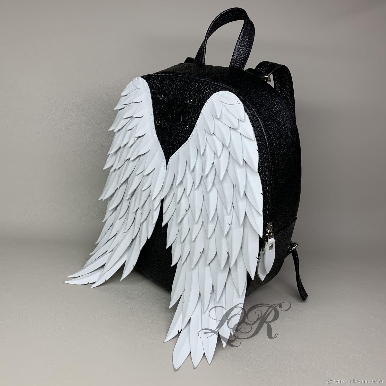 """Женский кожаный рюкзак """"Ангелочек"""" с крыльями 3D, Рюкзаки, Москва,  Фото №1"""