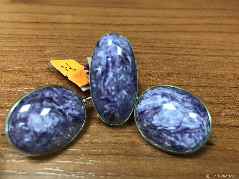Set Ring Earrings Charoite silver, Jewelry Sets, Irkutsk,  Фото №1