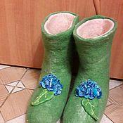 """Обувь ручной работы. Ярмарка Мастеров - ручная работа Домашние валенки многослойные """" Гортензия"""" 38размер. Handmade."""