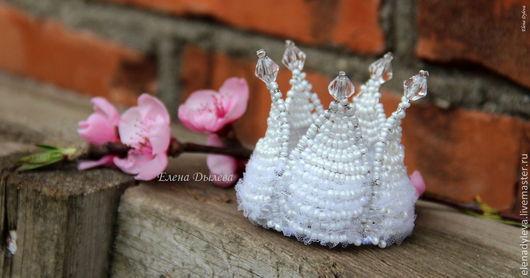 """Детская бижутерия ручной работы. Ярмарка Мастеров - ручная работа. Купить Корона """"Белая"""" ; Маленькая корона; Корона из бисера.. Handmade."""