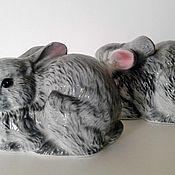 handmade. Livemaster - original item Figurines of rabbits from bone China. England.. Handmade.