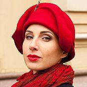 Аксессуары handmade. Livemaster - original item hats: Red felt hat