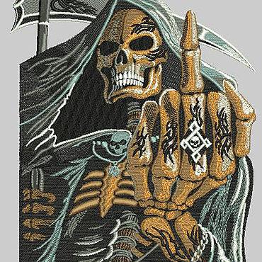 Одежда ручной работы. Ярмарка Мастеров - ручная работа Байкер шутка вышивка чёрный терракотовый логотип клуб символизм череп. Handmade.