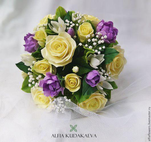 """Букеты ручной работы. Ярмарка Мастеров - ручная работа. Купить Композиция """"Свадебная"""". Handmade. Разноцветный, розы, гипсофила, гардения"""