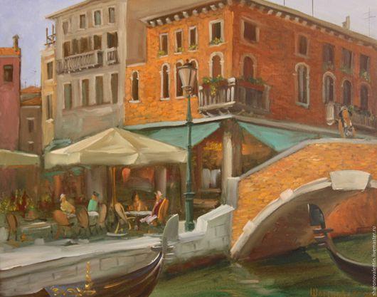 Город ручной работы. Ярмарка Мастеров - ручная работа. Купить Венеция. Площадь. Кафе.. Handmade. Синий, красный, венеция