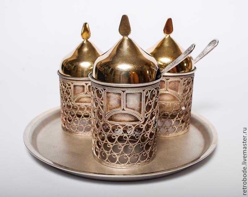 Винтажная посуда. Ярмарка Мастеров - ручная работа. Купить Винтаж: Набор для специй, богатыри, Мстера мельльхиор, винтаж. Handmade. Винтаж