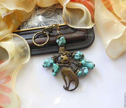 брелок Кокетка бирюзовая прикольный брелок, брелок на сумку, брелок для ключей, брелок на джинсы, брелок для сумки, брелок в подарок, стильный аксессуар, брелок на ключи, украшение для сумки, украшение на сумку, украшения с бирюзой, брелок с кошкой, брелок с бирюзой, брелок с подвеской, брелок бронзовый, украшение с кошкой, подарок с кошкой, бирюзовый брелок, брелок бирюзовый, купить брелок, ollika Ольга Дмитриева, ollika handmade