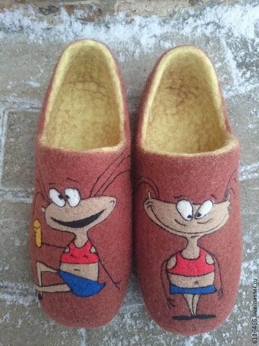 Обувь ручной работы. Ярмарка Мастеров - ручная работа. Купить домашние валяные тапочки из натуральной шерсти Масяня. Handmade. Коричневый